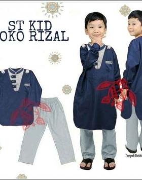 Baju Muslim Anak Rizal Koko Kids Warna Navy Bahan Katun Halus