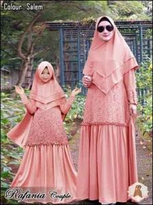 Baju Muslim Couple Anggun Rafania Syar'i Warna Salem Bahan Moscrepe Lotus