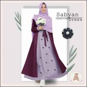 Gamis Murah Polos Sabyan Syar'i Warna Lavender Bahan Moscrepe