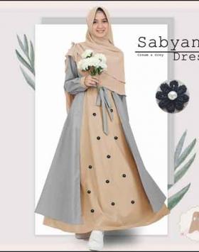Gamis Polos Murah Sabyan Syar'i Warna Cream Bahan Moscrepe