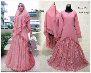 Gaun Pesta Muslimah Elegan Calistya Syar'i Warna Dusty Pink Bahan Diamond Crepe