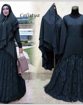 Gaun Pesta Muslimah Elegan Calistya Syar'i Warna Navy Bahan Diamond Crepe
