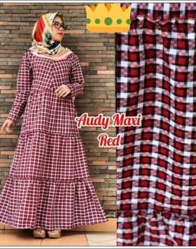 Jual Gamis Murah Syar'i Audy Maxi Warna Red Bahan Katun Yanded