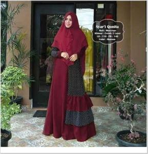 Baju Gamis Cantik Qonita Syar'i Warna Maron Bahan Moscrepe Import