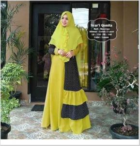 Baju Gamis Cantik Qonita Syar'i Warna New Lemon Bahan Moscrepe Import