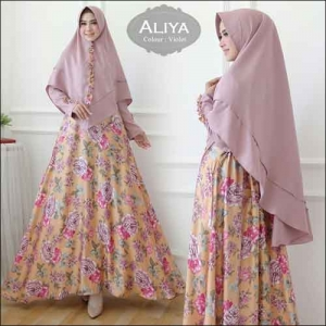 Baju Gamis Online Aliya Syar'i Motif Bunga Warna Violet Bahan Moscrepe