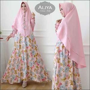 Baju Gamis Online Aliya Syar'i Motif Bunga Warna pink Bahan Moscrepe