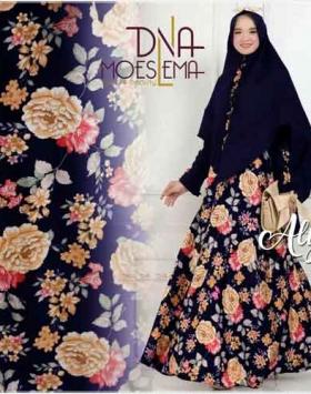 Baju Gamis Terbaru Alya Syar'i Warna Navy Edisi Lebaran Bahan Moscrepe