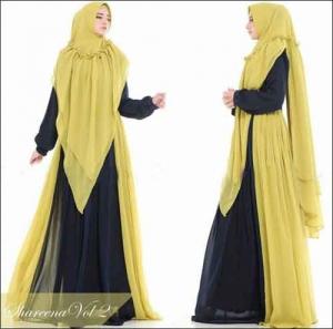 Jual Baju Gamis Shareena Syar'i Warna Lemon Bahan Ceruti