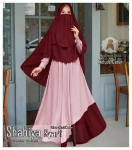Jual Baju Wanita Muslim Shabiya Syar'i Warna Maron Bahan Moscrepe Lotus