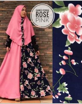 Jual Gamis Murah Ferika rose syar'i warna pink bahan Jersey Kombinasi