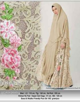 Jual Grosir Baju Pesta Muslim Khasifa Syar'i Warna Coklat Bahan Ceruti Kombinasi Brokat