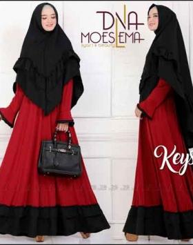 Jual Online Baju Gamis Keysa Syar'i Polos Warna Hitam Maron Bahan Amunzen