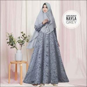 Model Baju Gamis Untuk Pesta Pernikahan Nayla Syar'i Warna Abu Bahan Brokat