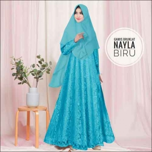 Model Baju Gamis Untuk Pesta Pernikahan Nayla Syar'i Warna Biru Bahan Brokat
