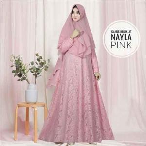 Model Baju Gamis Untuk Pesta Pernikahan Nayla Syar'i Warna Pink Lime Bahan Brokat