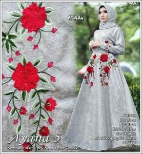 Model Gamis Pesta Terbaru Ayana Dress Warna Abu Bahan Jacquard