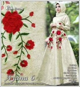 Model Gamis Pesta Terbaru Ayana Dress Warna Cream Bahan Jacquard