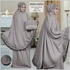 Mukena Cantik Terbaru Syafina warna Abu Bahan Katun Besway