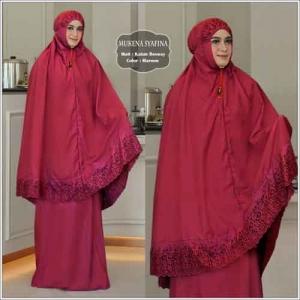Mukena Cantik Terbaru Syafina warna Maron Bahan Katun Besway