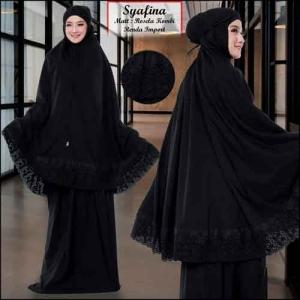 Mukena Polos Dengan Bordir Cantik Syafina Warna Black Bahan Rosela