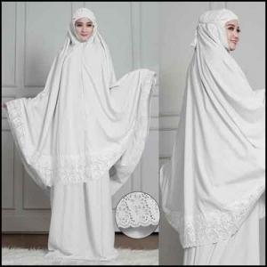 Mukena Polos Dengan Bordir Cantik Syafina Warna White Bahan Rosela