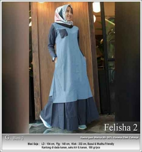 Onlineshop Baju Hijabers Murah Felisha Dress warna Biru Bahan Oxford