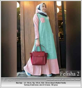 Onlineshop Baju Hijabers Murah Felisha Dress warna Hijau Tosca Bahan Oxford