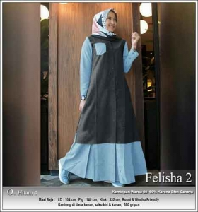 Onlineshop Baju Hijabers Murah Felisha Dress warna Hitam Bahan Oxford