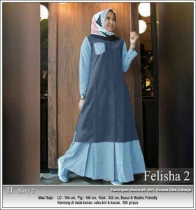 Onlineshop Baju Hijabers Murah Felisha Dress warna Navy Bahan Oxford