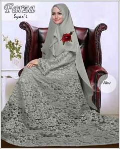 Supllier Baju Gamis Pesta Mewah Farza Syar'i Warna Abu Bahan Brukat