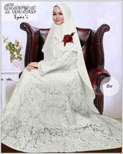 Supllier Baju Gamis Pesta Mewah Farza Syar'i Warna Broken White Bahan Brukat