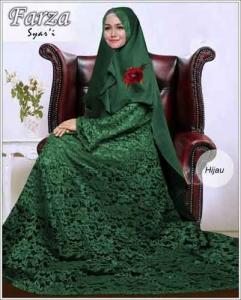 Supllier Baju Gamis Pesta Mewah Farza Syar'i Warna Hijau Bahan Brukat