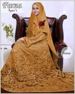 Supllier Baju Gamis Pesta Mewah Farza Syar'i Warna Kubus Bahan Brukat