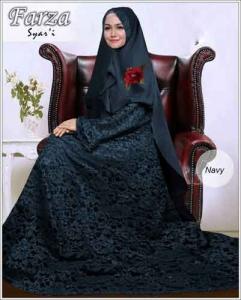 Supllier Baju Gamis Pesta Mewah Farza Syar'i Warna Navy Bahan Brukat