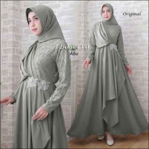 Baju Pesta Hijabers Baserra Dress Warna Abu Bahan Moscrepe