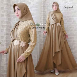 Baju Pesta Hijabers Baserra Dress Warna Coklat Muda Bahan Moscrepe