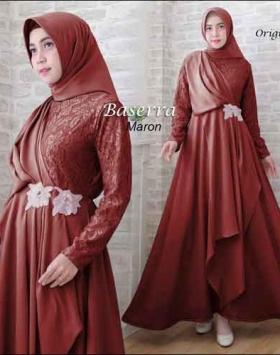 Baju Pesta Hijabers Baserra Dress Warna Maron Bahan Moscrepe