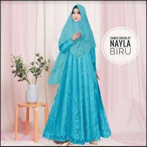 Jual Online Baju Gamis Pesta Murah Nayla Syar'i warna Biru Bahan Brukat