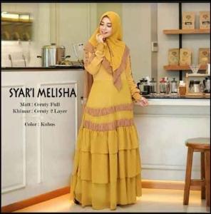 Supplier Baju Gamis Pesta Terbaru Melisha Syar'i Warna Kubus Bahan Ceruty