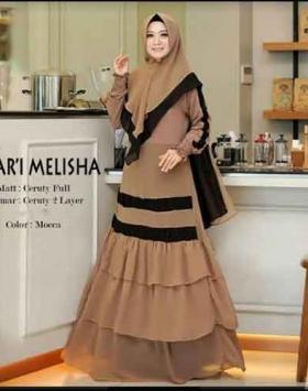 Supplier Baju Gamis Pesta Terbaru Melisha Syar'i Warna Mocca Bahan Ceruty
