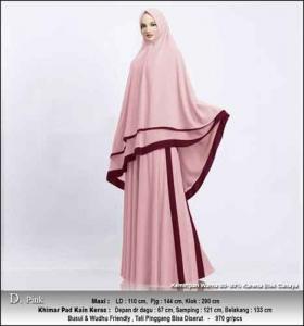Supplier Gamis Pesta Muslimah Kitty Syar'i Warna Pink Bahan Ceruty