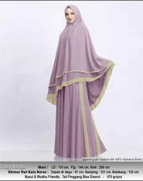 Supplier Gamis Pesta Muslimah Kitty Syar'i Warna Ungu Muda Bahan Ceruty