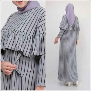 Gamis Daily Cantik Kinan Rruffel Dress 2 Bahan Kaos Terry Rayon