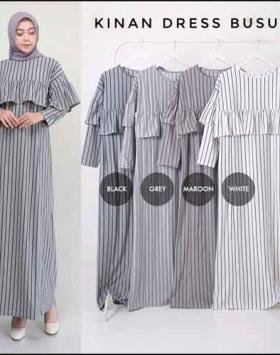 Gamis Daily Cantik Kinan Ruffle Dress 1 Bahan Kaos Terry Rayon