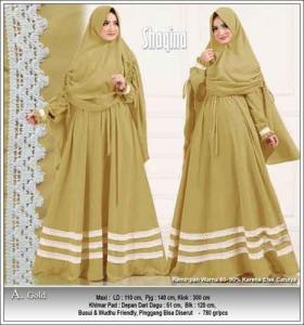 Gamis Polos Kombinasi Renda Shaqina Syar'i warna gold bahan wollycrepe
