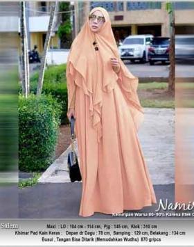 Gamis Polos Terbaru Namira Syar'i warna Salem bahan Kombinasi spandex woolpeach