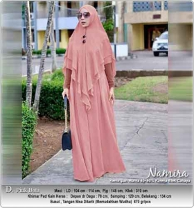 Gamis Polos Terbaru Namira Syar'i warna pink Bata bahan Kombinasi spandex Woolpeach