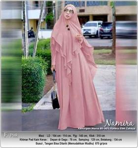 Gamis Polos Terbaru Namira Syar'i warna pink bahan Kombinasi spandex Woolpeach
