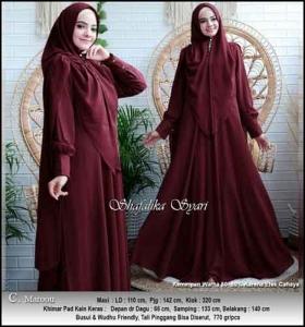 Jual Baju Gamis Shafalika Syar'i untuk Pesta Warna Maron Bahan Ceruti Premium